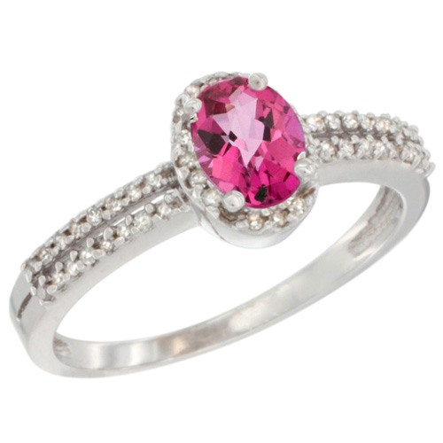 10K White Gold Natural Pink Topaz Ring Oval 6x4mm Diamond Accent, sizes 5-10