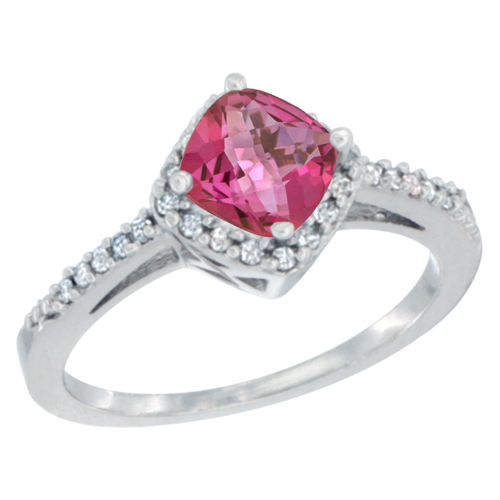 10K White Gold Natural Pink Topaz Ring Cushion-cut 6mm Halo Diamond Accent, sizes 5 - 10