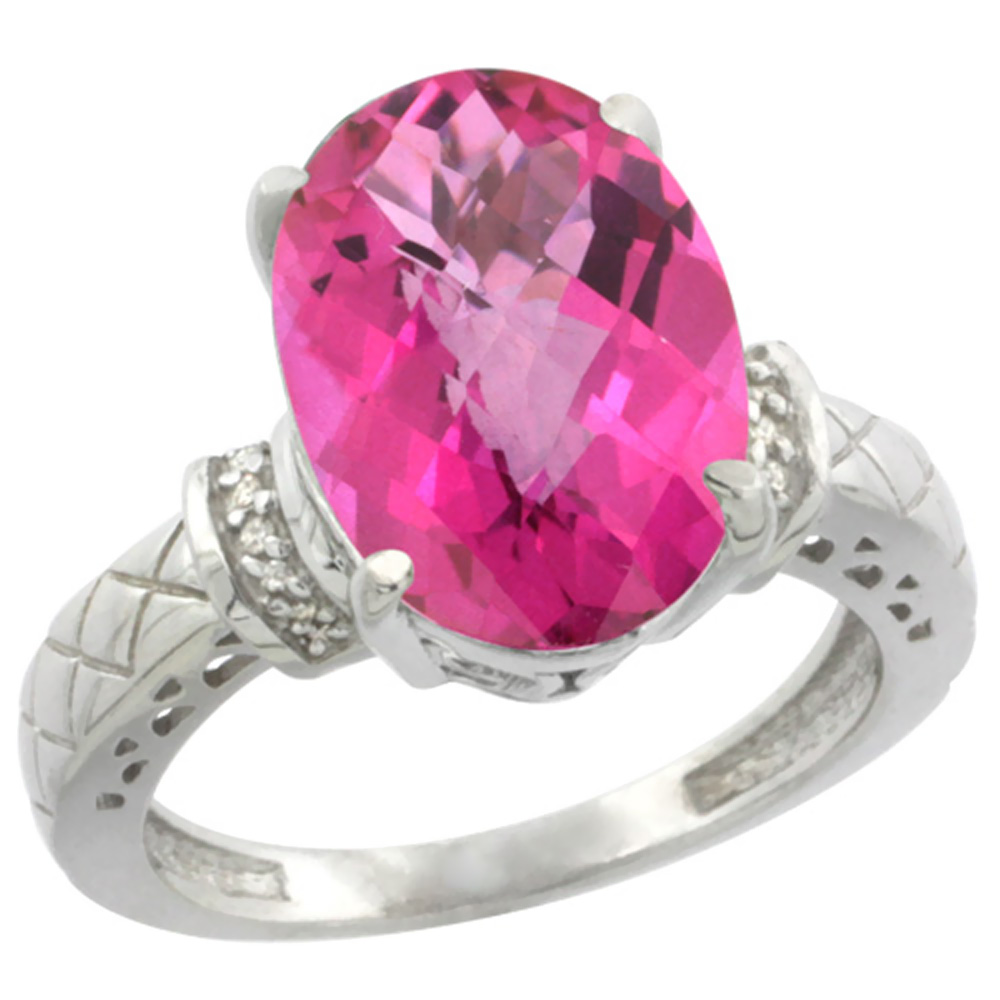 10K White Gold Diamond Natural Pink Topaz Ring Oval 14x10mm, sizes 5-10