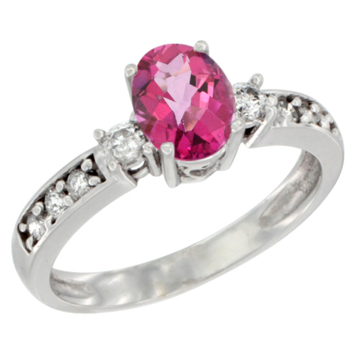 10k White Gold Natural Pink Topaz Ring Oval 7x5 mm Diamond Accent, sizes 5 - 10