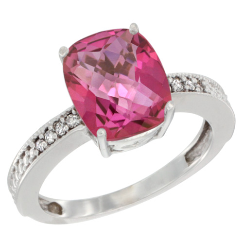 10K White Gold Diamond Cushion 10x8 mm Natural Pink Topaz Stone Ring, sizes 5 - 10