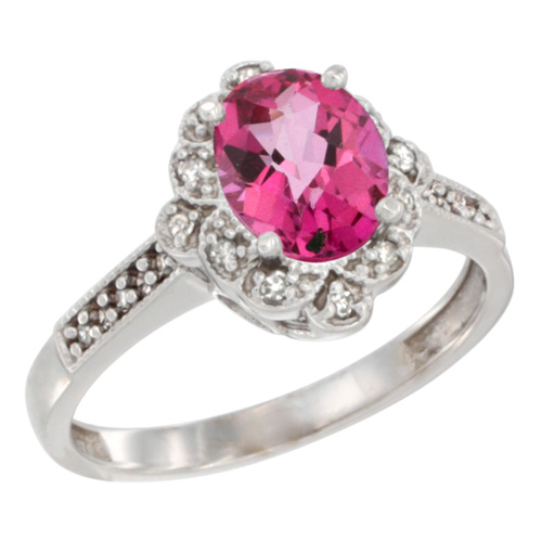 10K White Gold Natural Pink Topaz Ring Oval 8x6 mm Floral Diamond Halo, sizes 5 - 10