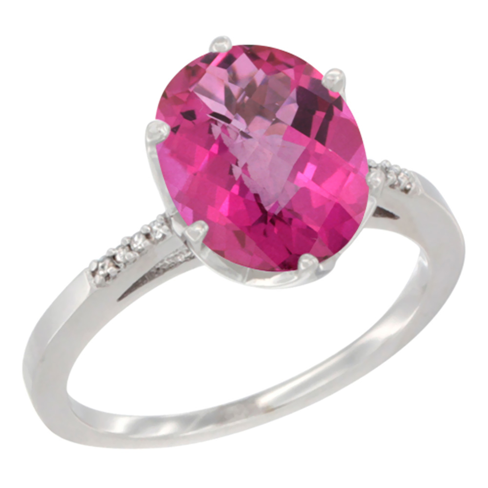 10K White Gold Natural Pink Topaz Engagement Ring 10x8 mm Oval, sizes 5 - 10