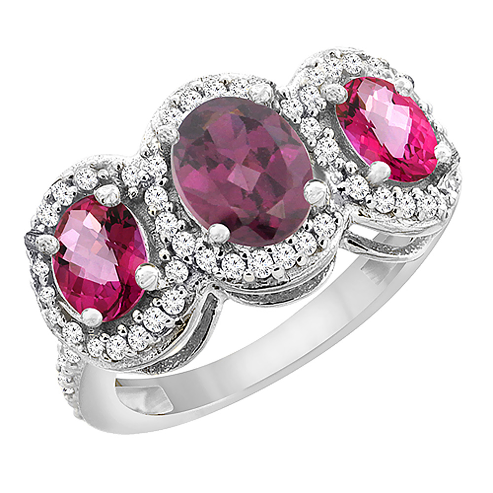 10K White Gold Natural Rhodolite & Pink Topaz 3-Stone Ring Oval Diamond Accent, sizes 5 - 10