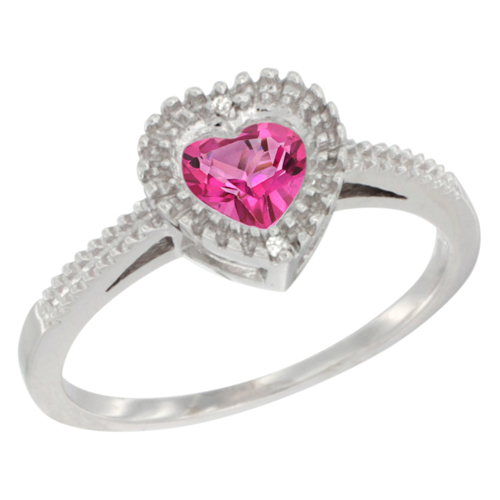 10K White Gold Natural Pink Topaz Ring Heart 6x6 mm, sizes 5 - 10