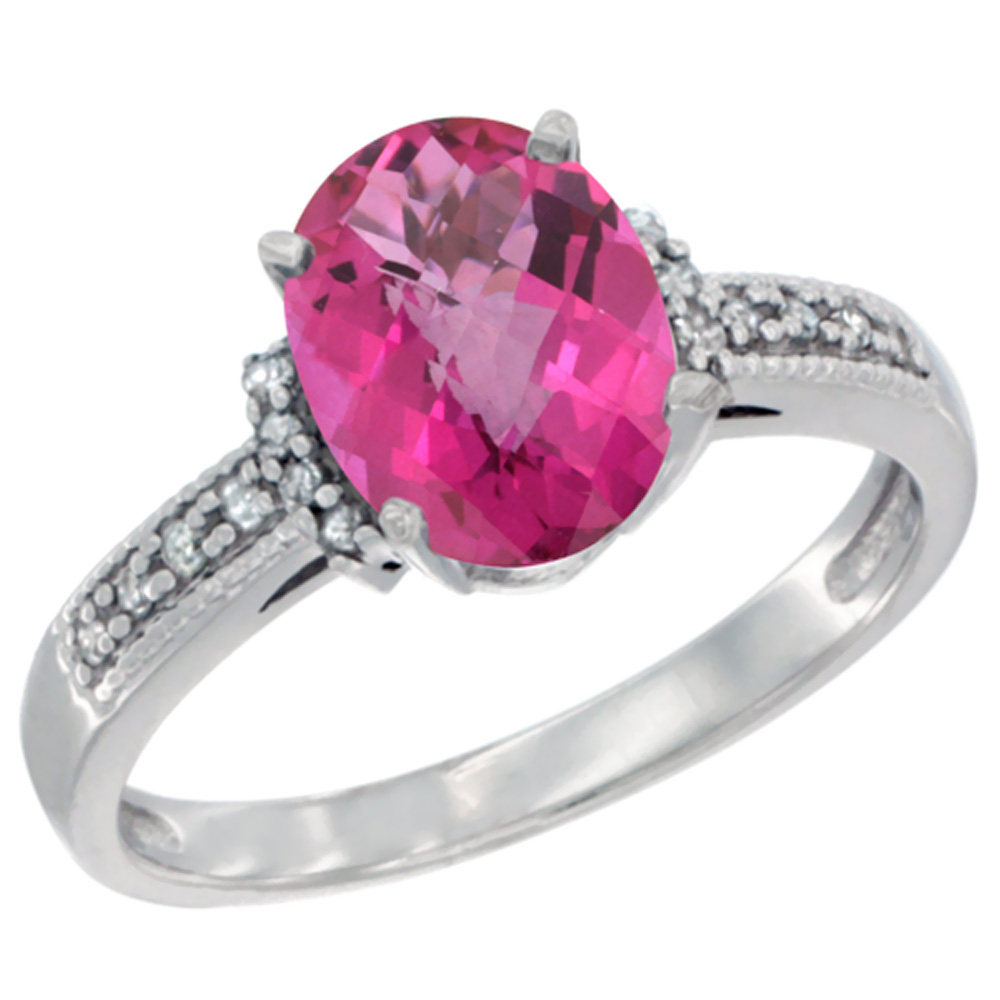10K White Gold Natural Pink Topaz Ring Oval 9x7 mm Diamond Accent, sizes 5 - 10