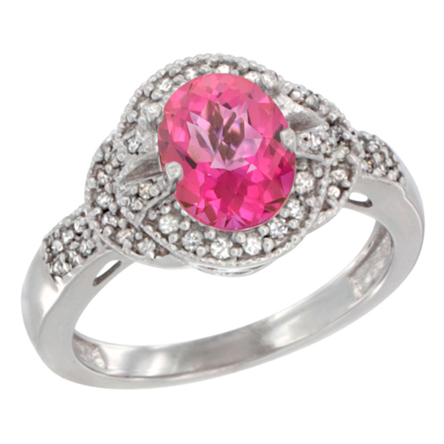 10K White Gold Natural Pink Topaz Ring Oval 8x6 mm Diamond Accent, sizes 5 - 10