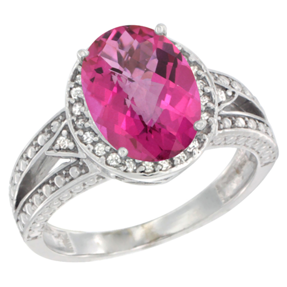 10k White Gold Natural Pink Topaz Ring Oval 9x7 mm Diamond Halo, sizes 5 - 10