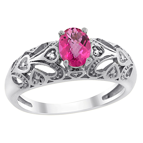 10K White Gold Natural Pink Topaz Ring Oval 6x4 mm Diamond Accent, sizes 5 - 10