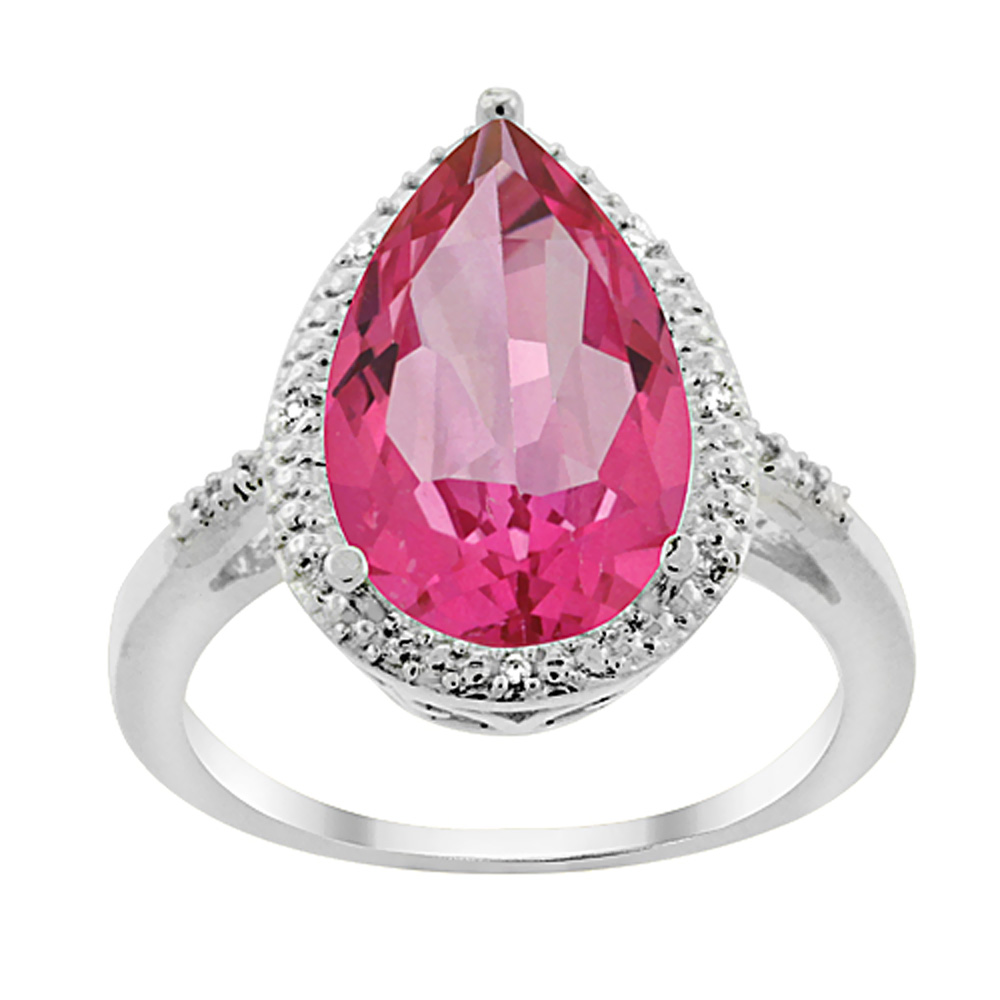 10K White Gold Natural Pink Topaz Ring Pear Shape 10x15 mm Diamond Accent, sizes 5 - 10