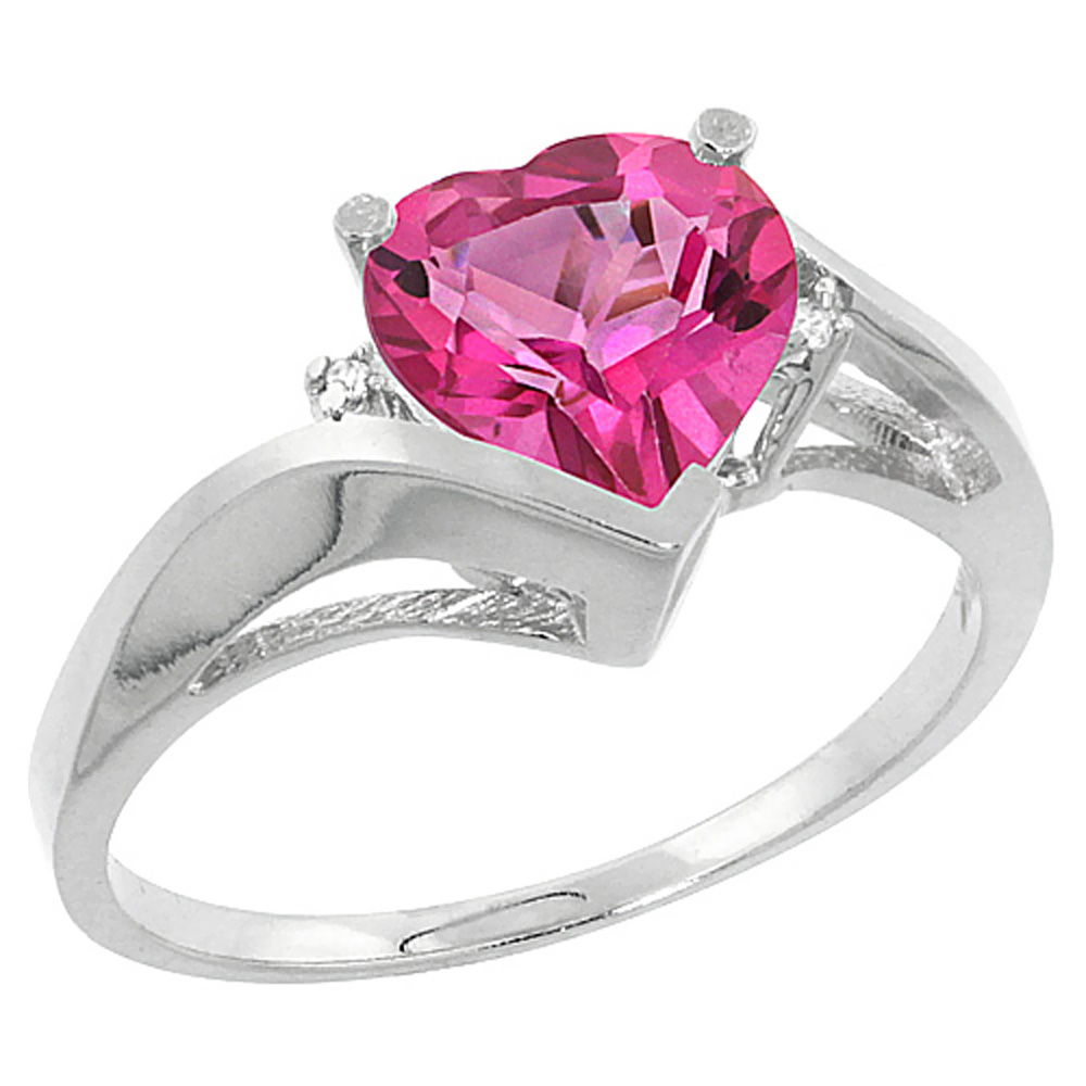 10K White Gold Natural Pink Topaz Heart Ring 7mm Diamond Accent, sizes 5 - 10