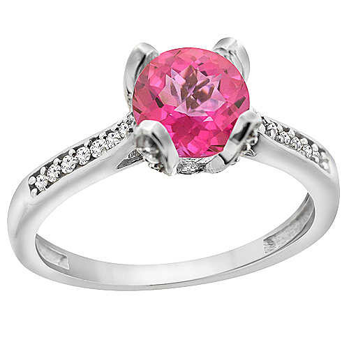 10K White Gold Diamond Natural Pink Topaz Engagement Ring Round 7mm, sizes 5 to 10 with half sizes