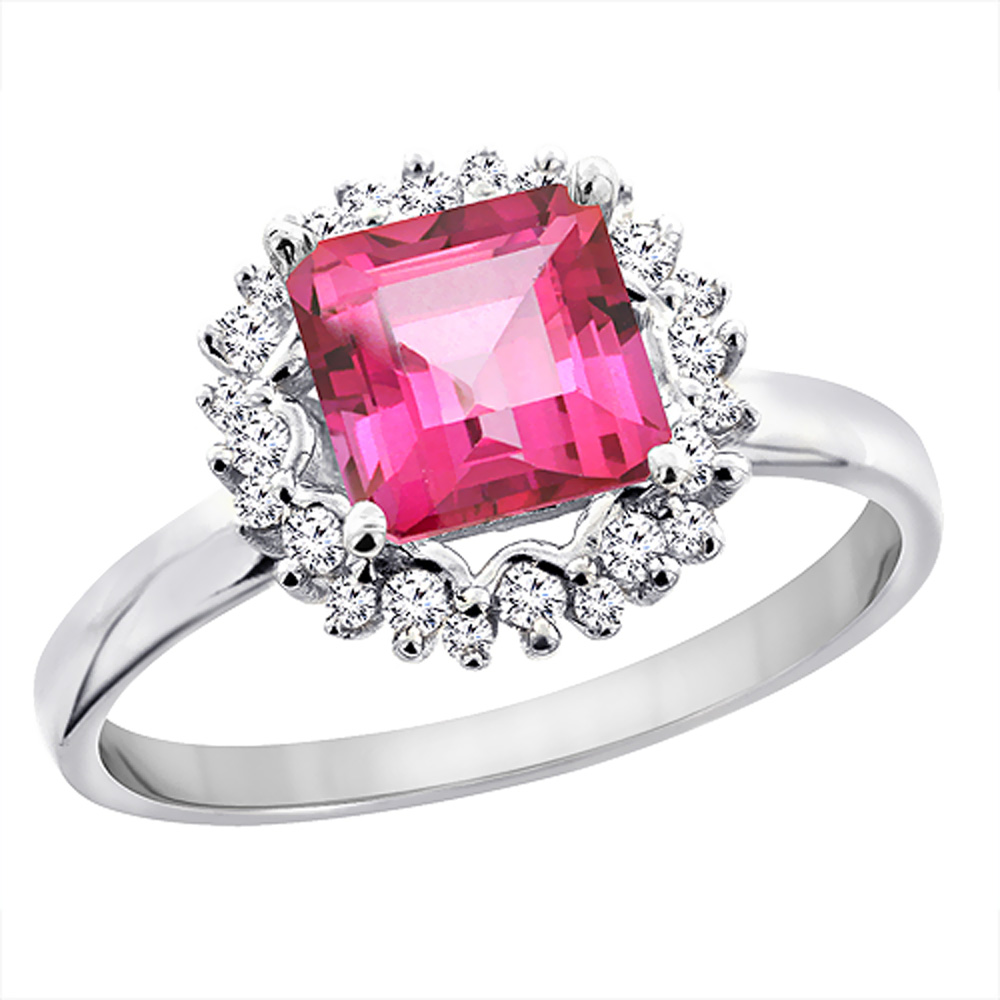 10K White Gold Natural Pink Topaz Ring Square 6x6 mm Diamond Accents, sizes 5 - 10
