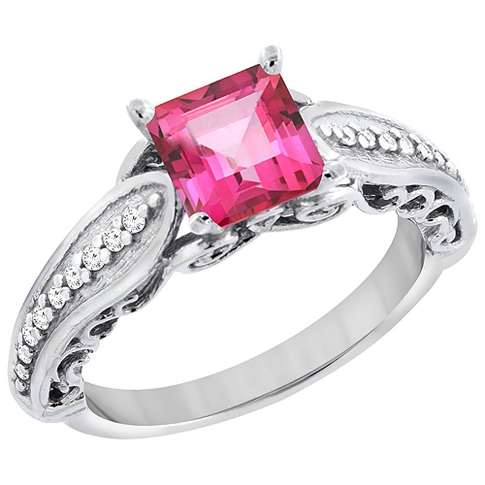 10K White Gold Natural Pink Topaz Ring Square 8x8mm with Diamond Accents, sizes 5 - 10