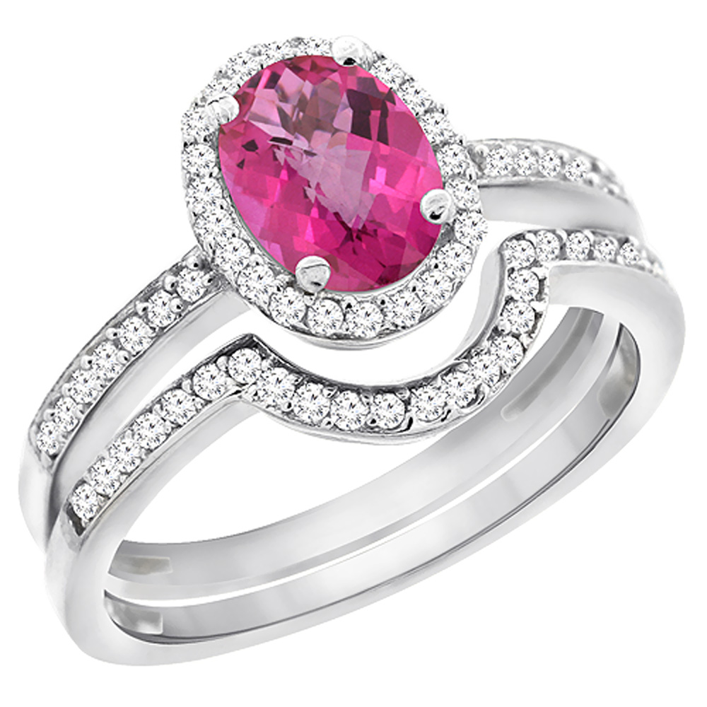 14K White Gold Diamond Natural Pink Sapphire 2-Pc. Engagement Ring Set Oval 8x6 mm, sizes 5 - 10