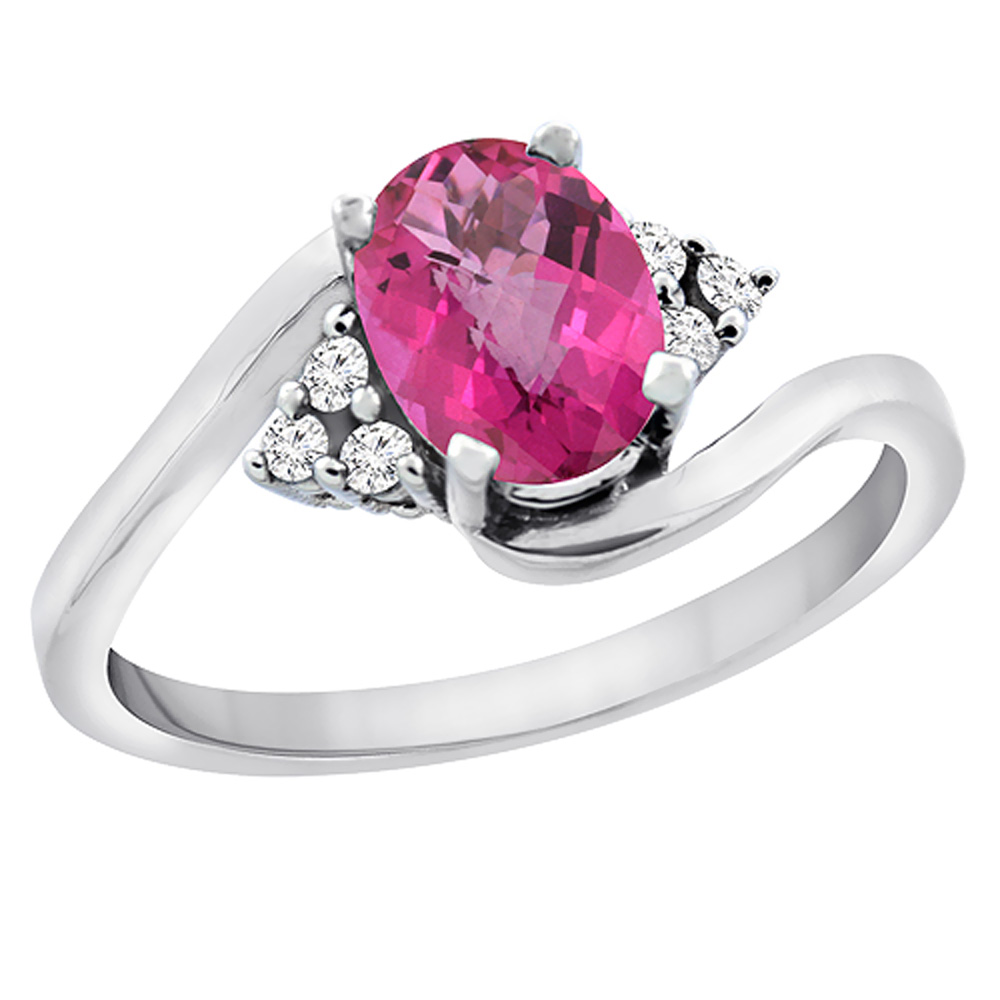 14K White Gold Diamond Natural Pink Sapphire Engagement Ring Oval 7x5mm, sizes 5 - 10