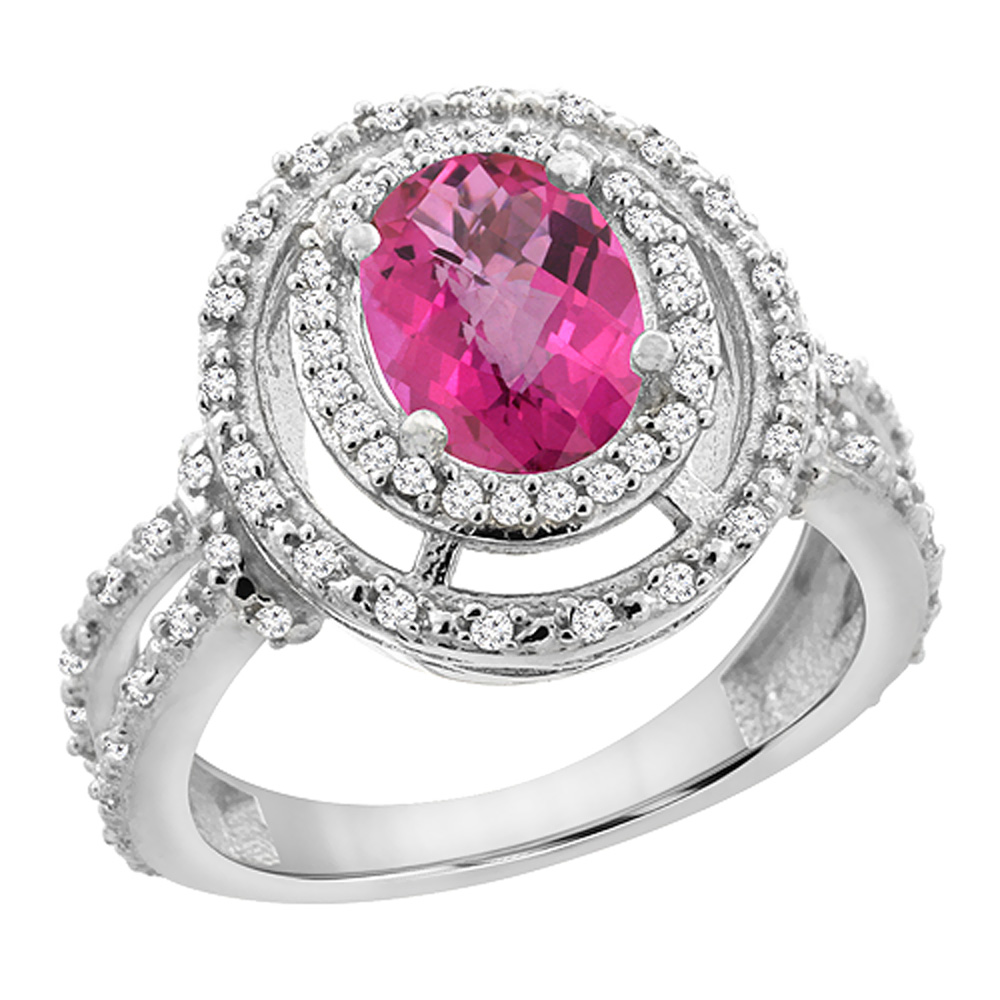 14K White Gold Natural Pink Sapphire Ring Oval 8x6 mm Double Halo Diamond, sizes 5 - 10