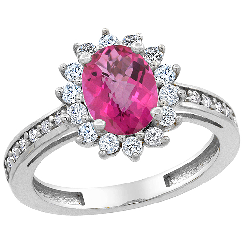 14K White Gold Natural Pink Sapphire Floral Halo Ring Oval 8x6mm Diamond Accents, sizes 5 - 10