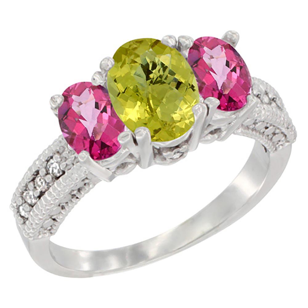 14K White Gold Diamond Natural Lemon Quartz Ring Oval 3-stone with Pink Topaz, sizes 5 - 10