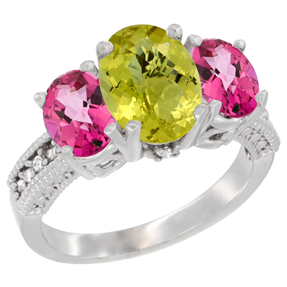 14K White Gold Natural Lemon Quartz Ring Ladies 3-Stone 8x6 Oval with Pink Topaz Sides Diamond Accent, sizes 5 - 10