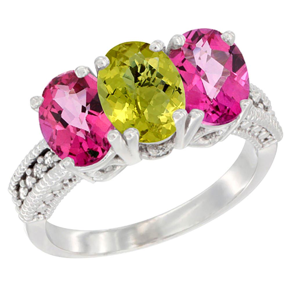 14K White Gold Natural Lemon Quartz & Pink Topaz Ring 3-Stone 7x5 mm Oval Diamond Accent, sizes 5 - 10