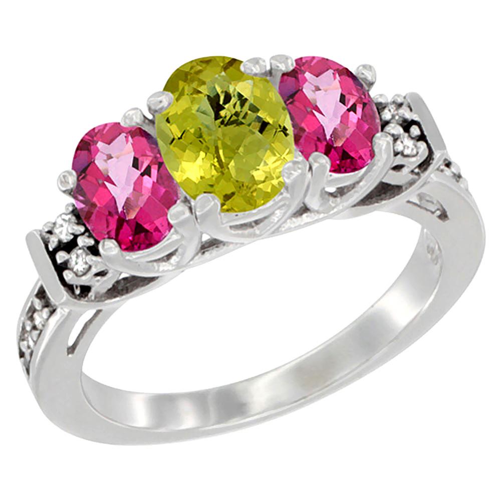 14K White Gold Natural Lemon Quartz & Pink Topaz Ring 3-Stone Oval Diamond Accent, sizes 5-10