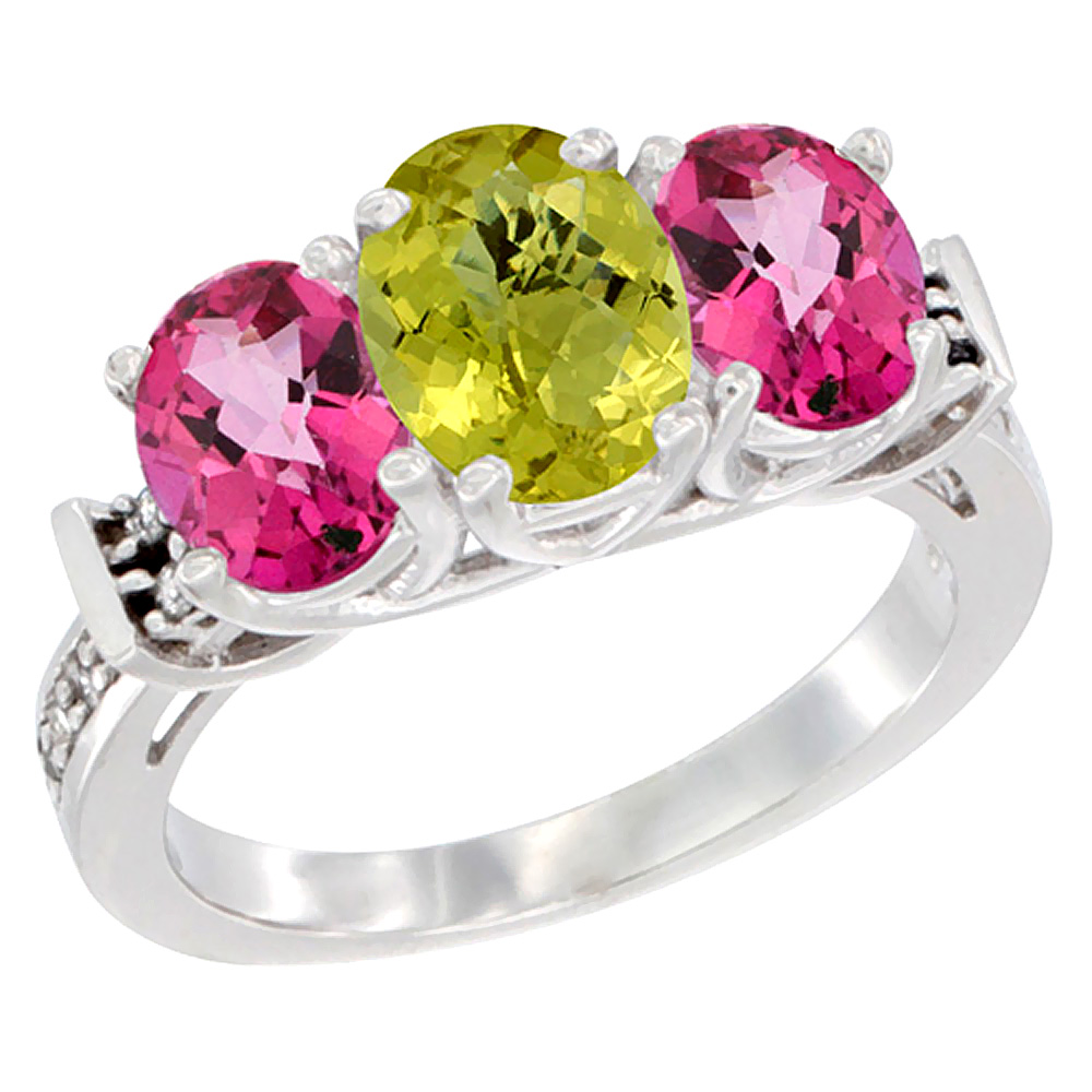 14K White Gold Natural Lemon Quartz & Pink Topaz Sides Ring 3-Stone Oval Diamond Accent, sizes 5 - 10