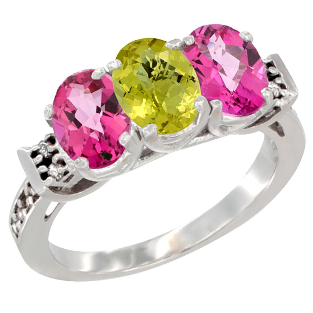 14K White Gold Natural Lemon Quartz & Pink Topaz Sides Ring 3-Stone Oval 7x5 mm Diamond Accent, sizes 5 - 10