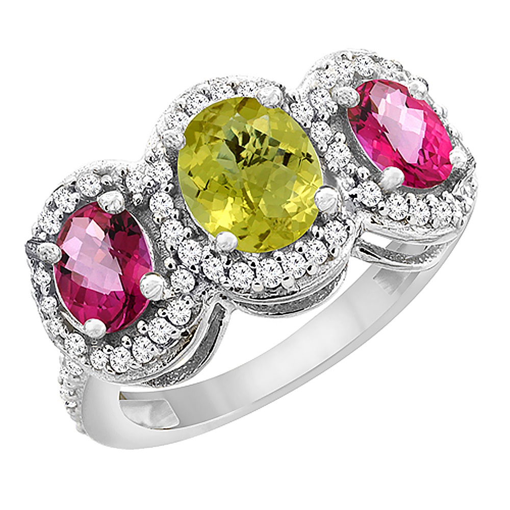 14K White Gold Natural Lemon Quartz & Pink Topaz 3-Stone Ring Oval Diamond Accent, sizes 5 - 10
