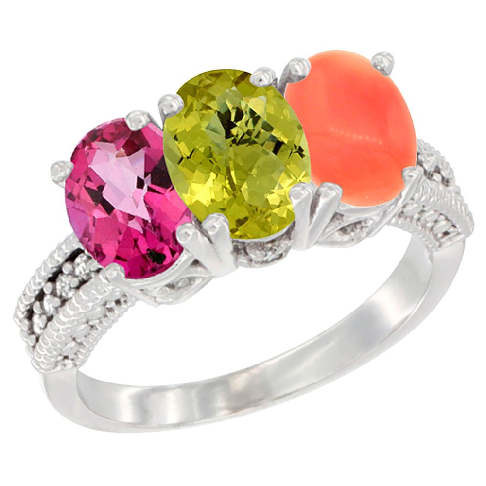 14K White Gold Natural Pink Topaz, Lemon Quartz & Coral Ring 3-Stone 7x5 mm Oval Diamond Accent, sizes 5 - 10