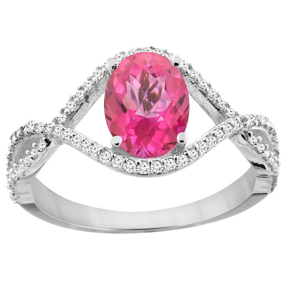 14K White Gold Natural Pink Sapphire Ring Oval 8x6 mm Infinity Diamond Accents, sizes 5 - 10