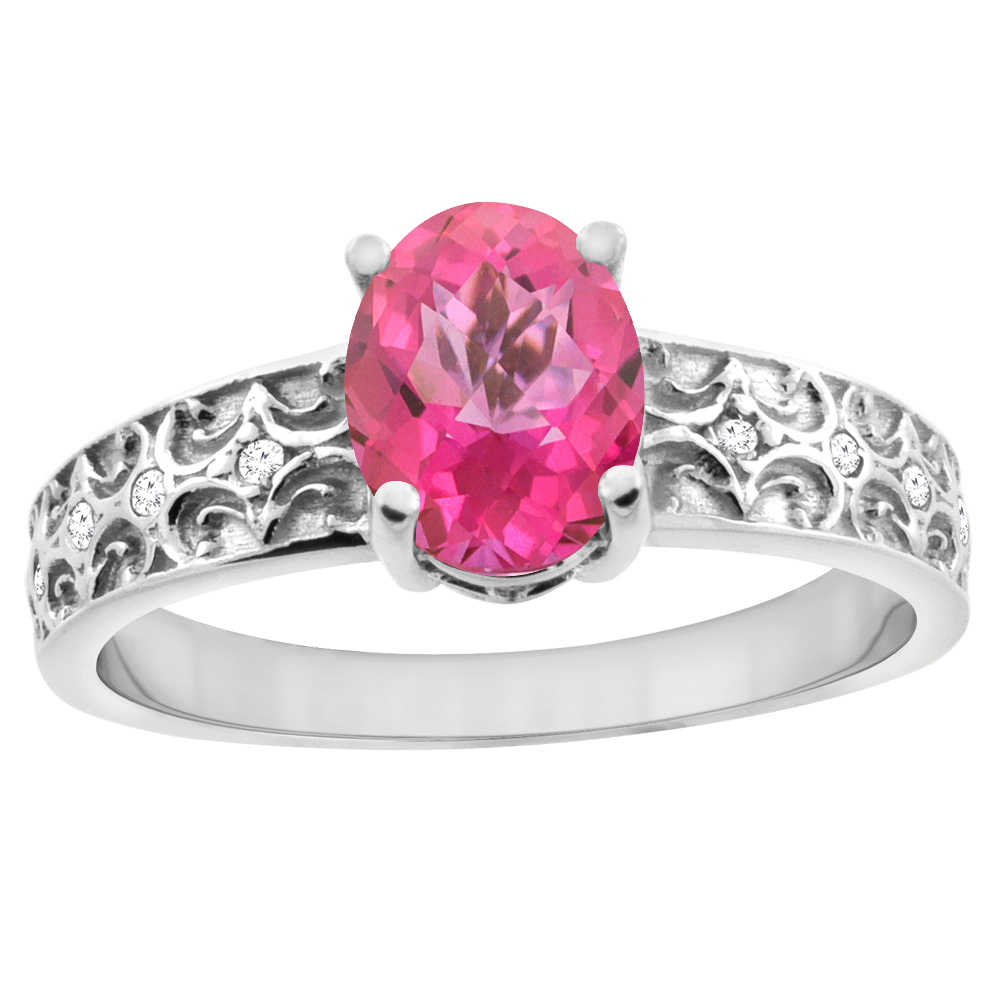 14K White Gold Natural Pink Sapphire Ring Oval 8x6 mm Diamond Accents, sizes 5 - 10