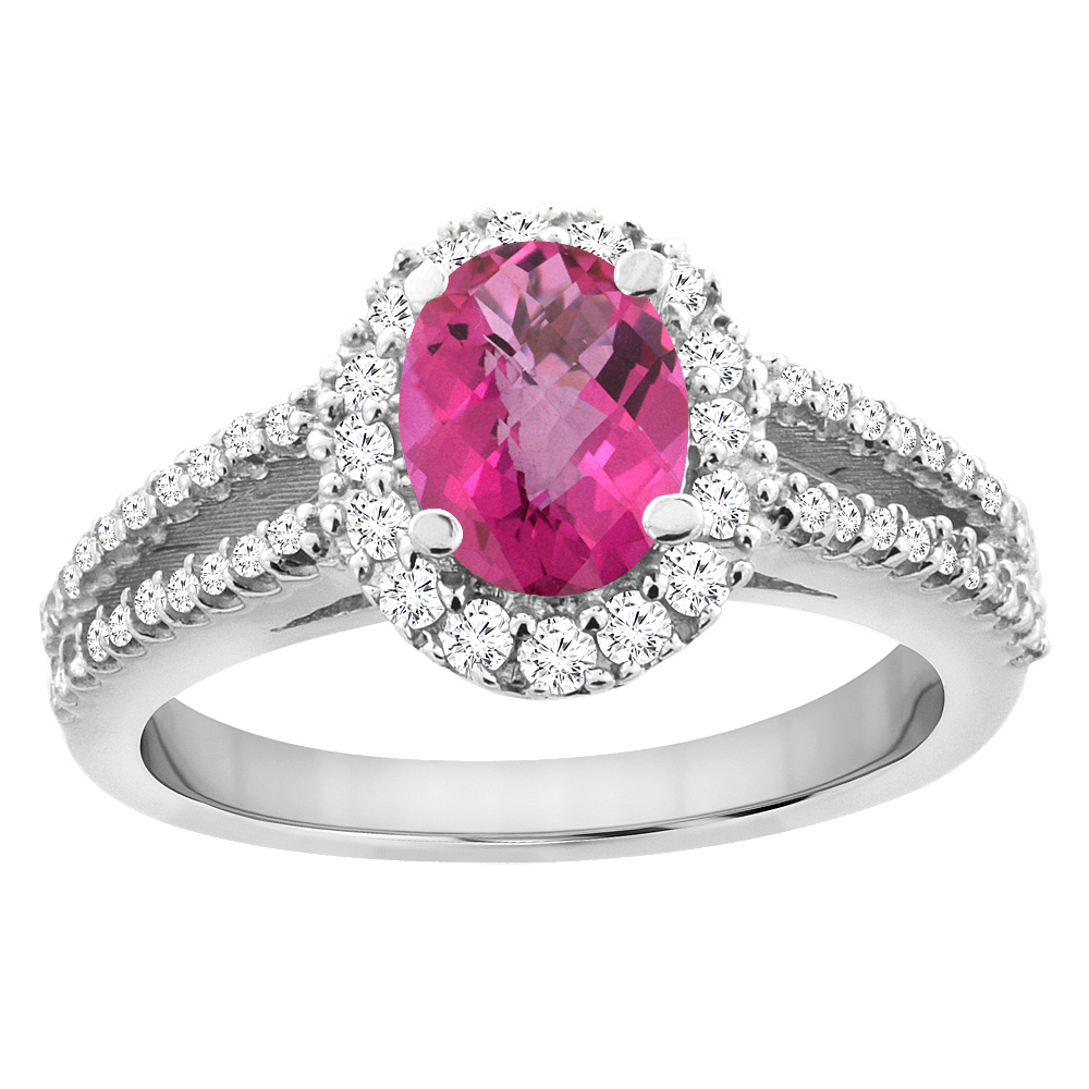 14K White Gold Natural Pink Sapphire Split Shank Halo Engagement Ring Oval 7x5 mm, sizes 5 - 10