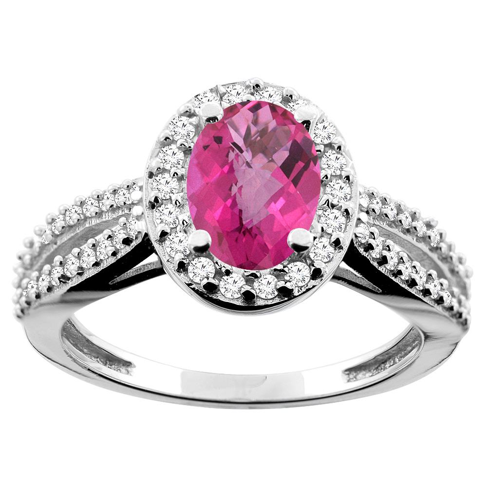 14K White/Yellow/Rose Gold Natural Pink Sapphire Ring Oval 8x6mm Diamond Accent, sizes 5 - 10