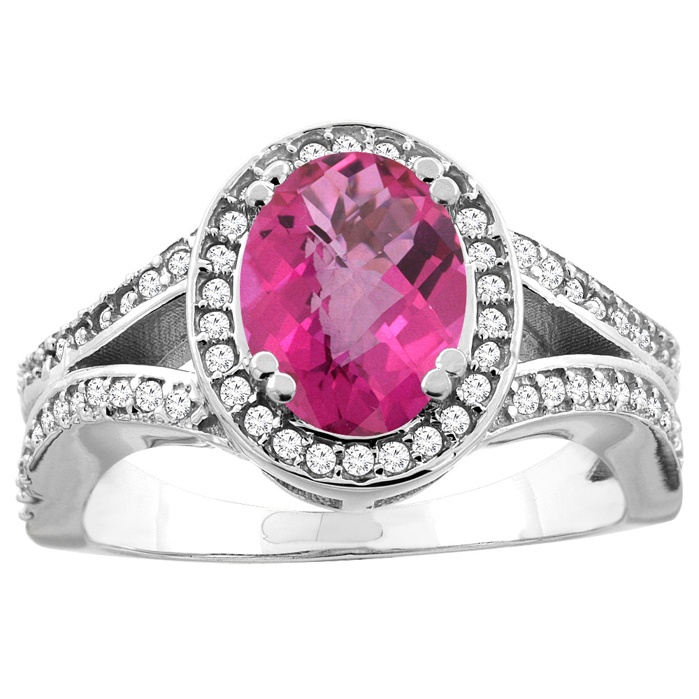 14k Gold Diamond Halo Genuine Pink Sapphire Ring Split Shank Oval 8x6mm, size 5-10