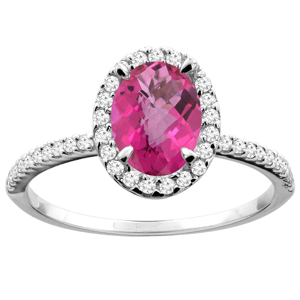 10K White/Yellow Gold Natural Pink Sapphire Ring Oval 8x6mm Diamond Accent, sizes 5 - 10