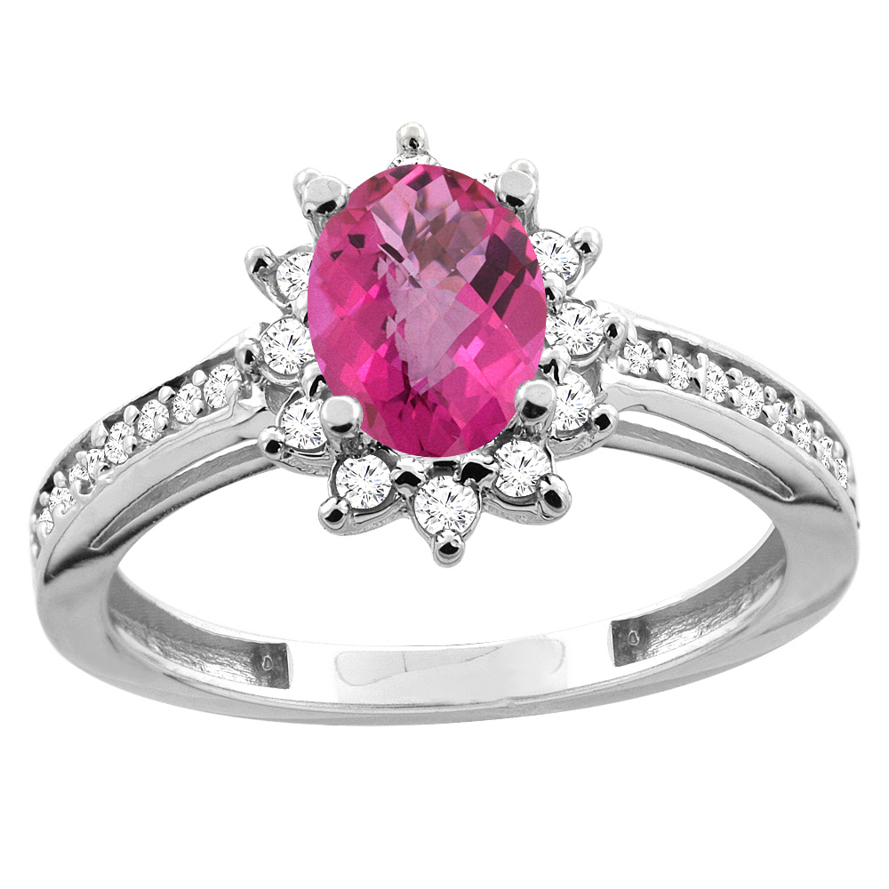 14K White/Yellow Gold Diamond Natural Pink Sapphire Floral Halo Engagement Ring Oval 7x5mm, sizes 5 - 10