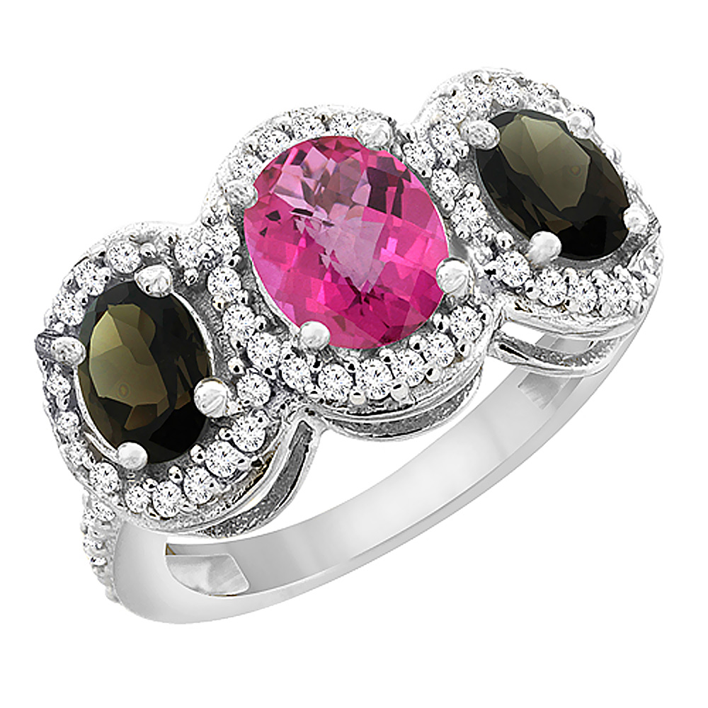 14K White Gold Natural Pink Sapphire & Smoky Topaz 3-Stone Ring Oval Diamond Accent, sizes 5 - 10