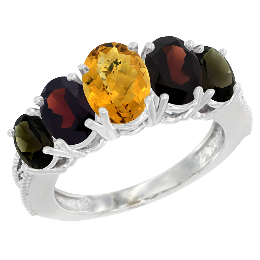 10K White Gold Diamond Natural Whisky Quartz,Garnet,Smoky Topaz Ring 5-stone Oval 8x6 Center,7x5,6x4,sz5-10