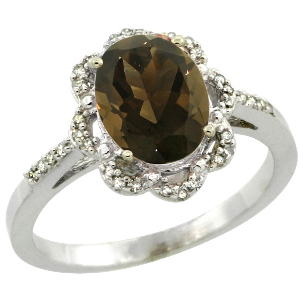 10K White Gold Diamond Halo Natural Smoky Topaz Engagement Ring Oval 9x7mm, sizes 5-10