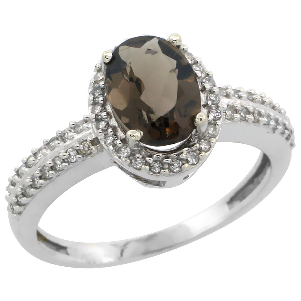 10k White Gold Natural Smoky Topaz Ring Oval 8x6mm Diamond Halo, sizes 5-10