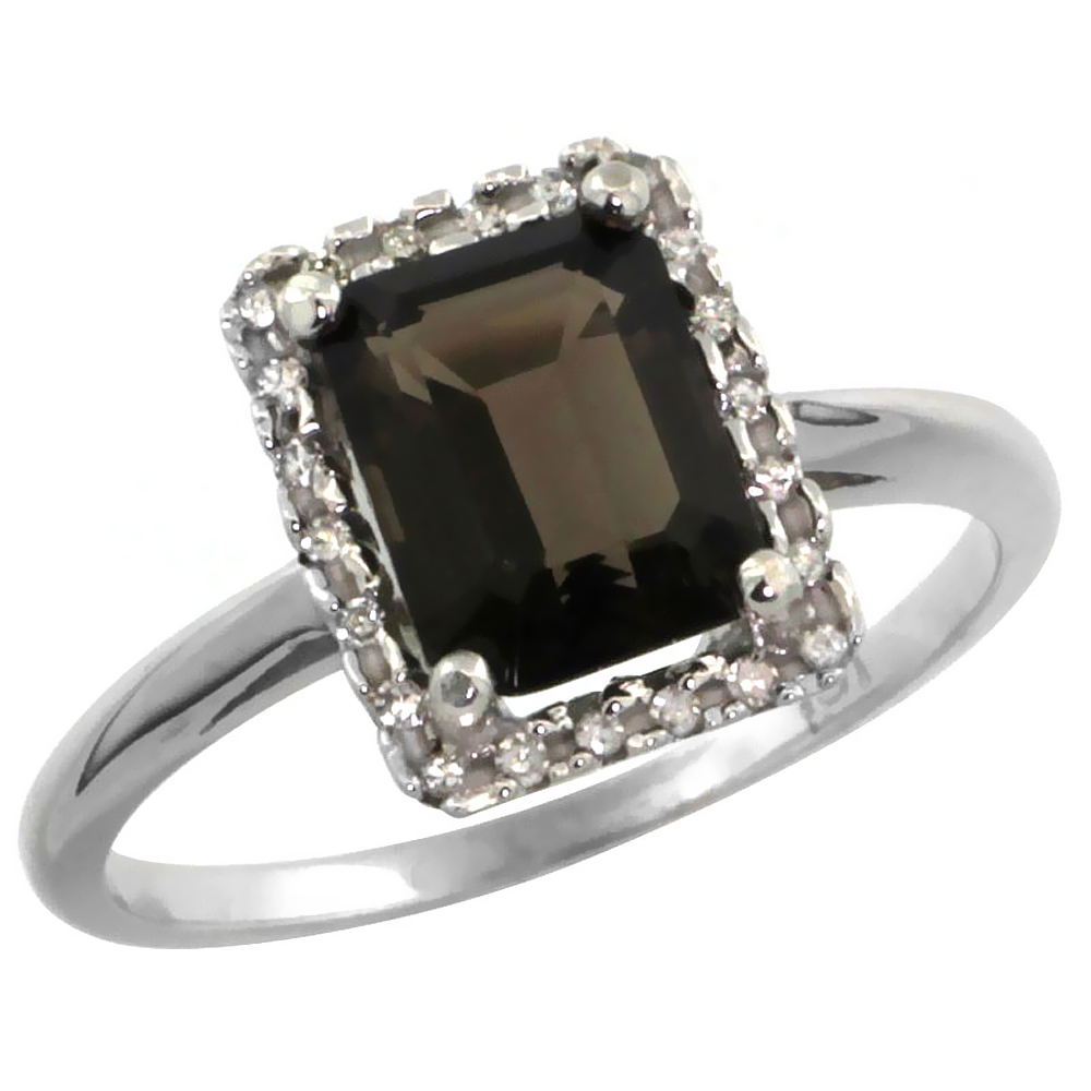 14K White Gold Diamond Natural Smoky Topaz Ring Emerald-cut 8x6mm, sizes 5-10
