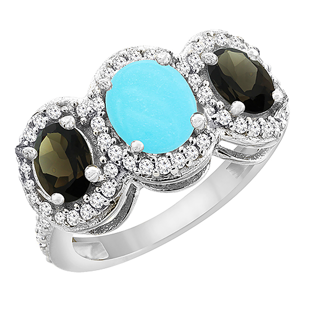 10K White Gold Natural Turquoise & Smoky Topaz 3-Stone Ring Oval Diamond Accent, sizes 5 - 10
