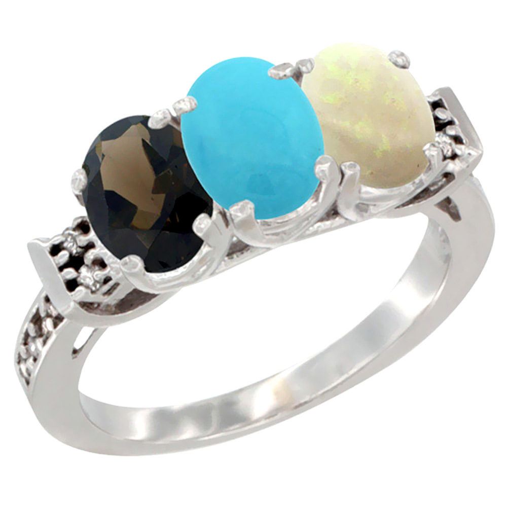 10K White Gold Natural Smoky Topaz, Turquoise & Opal Ring 3-Stone Oval 7x5 mm Diamond Accent, sizes 5 - 10
