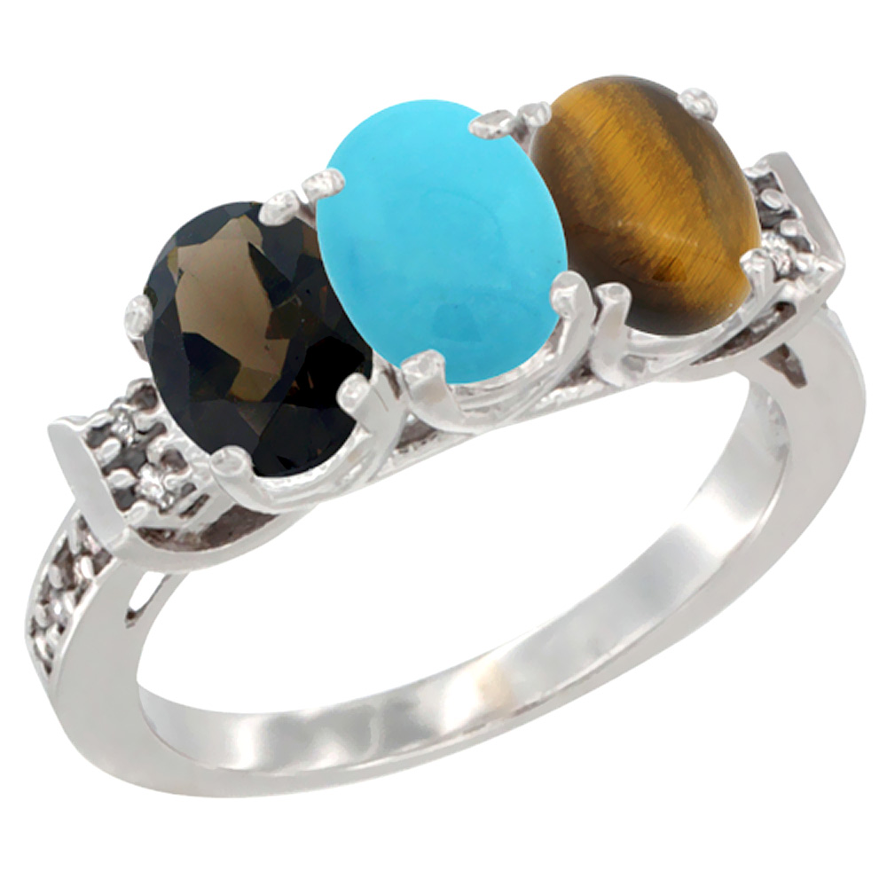 10K White Gold Natural Smoky Topaz, Turquoise & Tiger Eye Ring 3-Stone Oval 7x5 mm Diamond Accent, sizes 5 - 10