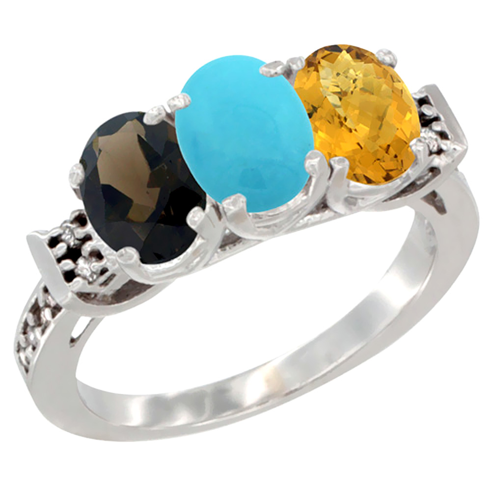 10K White Gold Natural Smoky Topaz, Turquoise & Whisky Quartz Ring 3-Stone Oval 7x5 mm Diamond Accent, sizes 5 - 10