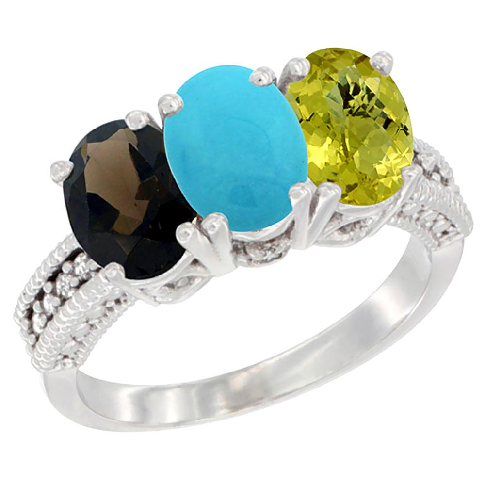 10K White Gold Natural Smoky Topaz, Turquoise & Lemon Quartz Ring 3-Stone Oval 7x5 mm Diamond Accent, sizes 5 - 10
