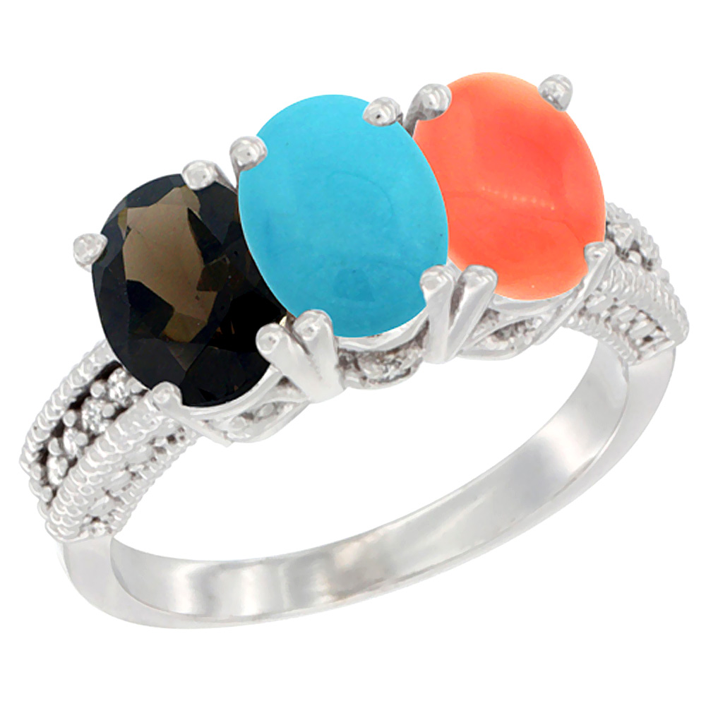 10K White Gold Natural Smoky Topaz, Turquoise & Coral Ring 3-Stone Oval 7x5 mm Diamond Accent, sizes 5 - 10