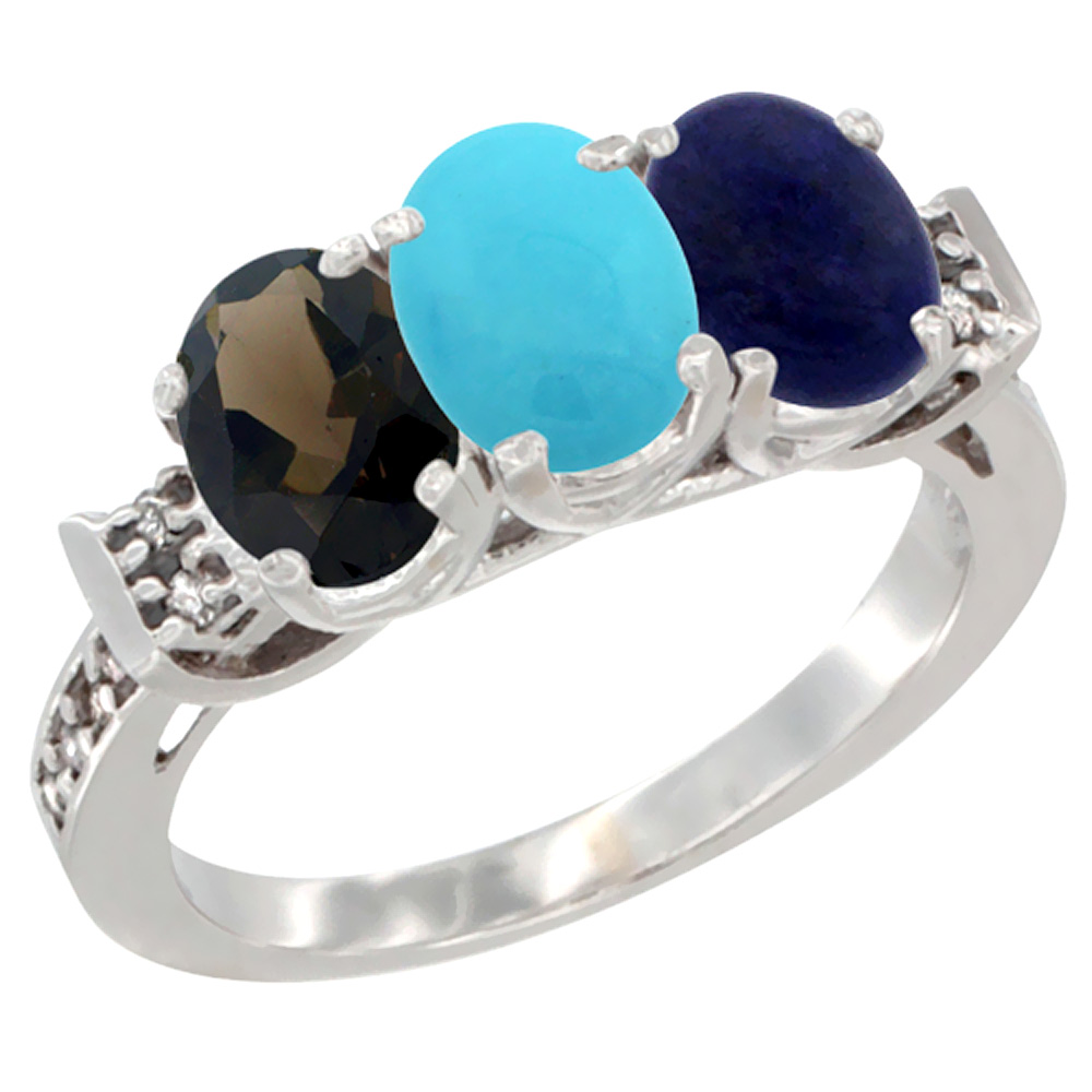 10K White Gold Natural Smoky Topaz, Turquoise & Lapis Ring 3-Stone Oval 7x5 mm Diamond Accent, sizes 5 - 10
