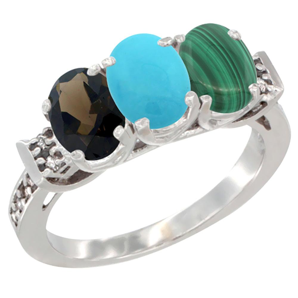 10K White Gold Natural Smoky Topaz, Turquoise & Malachite Ring 3-Stone Oval 7x5 mm Diamond Accent, sizes 5 - 10